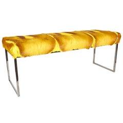 Bespoke Bench in Exotic Springbok Fur in Vibrant Yellow