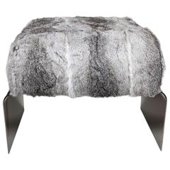 Bespoke Luxurious Lapin Fur Stool with Nickel Base