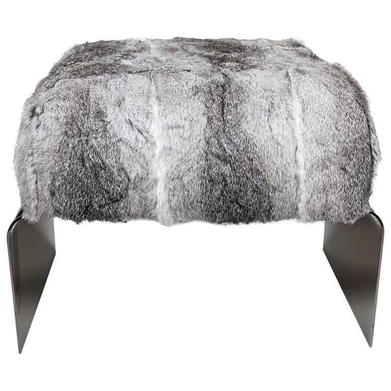 Bespoke Luxurious Lapin Fur Stool with Nickel Base For Sale