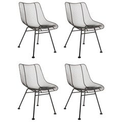 Set of Four Russell Woodard Sculptura Mesh Dining Side Chairs
