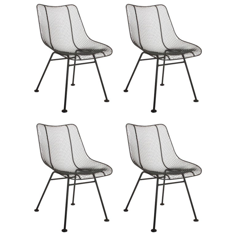 Set of Four Russell Woodard Sculptura Mesh Dining Side Chairs For Sale