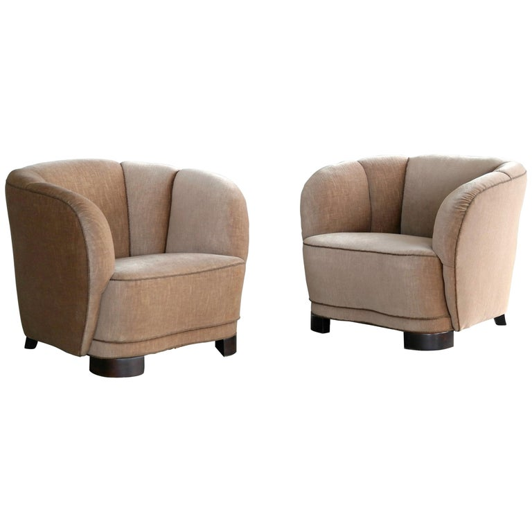 Viggo Boesen Style Pair of 1940s Danish Low Club or Lounge Chairs in Velvet For Sale