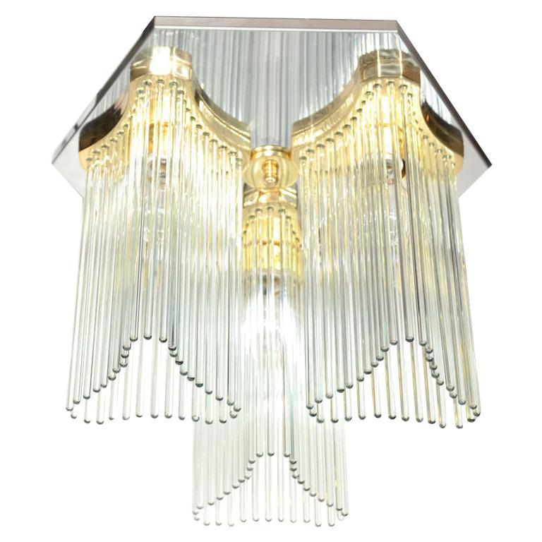 Hollywood Regency Waterfall Glass Rod Chandelier by Gaetano Sciolari For Sale
