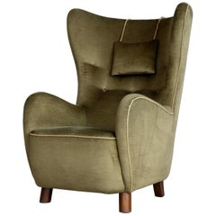 Danish 1940s Flemming Lassen Attributed High Back Lounge Chair