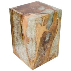 Organic Modern Bleached Teak Wood and Resin Side Table