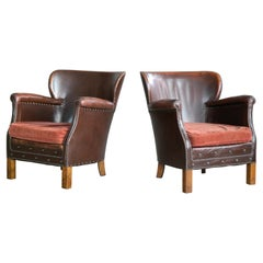Otto Schulz Style Danish 1930s Pair of Club Chairs Brass Studded Brown Leather