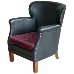 Danish 1930s Small Scale Club Chair in Patinated Black Leather and Studs