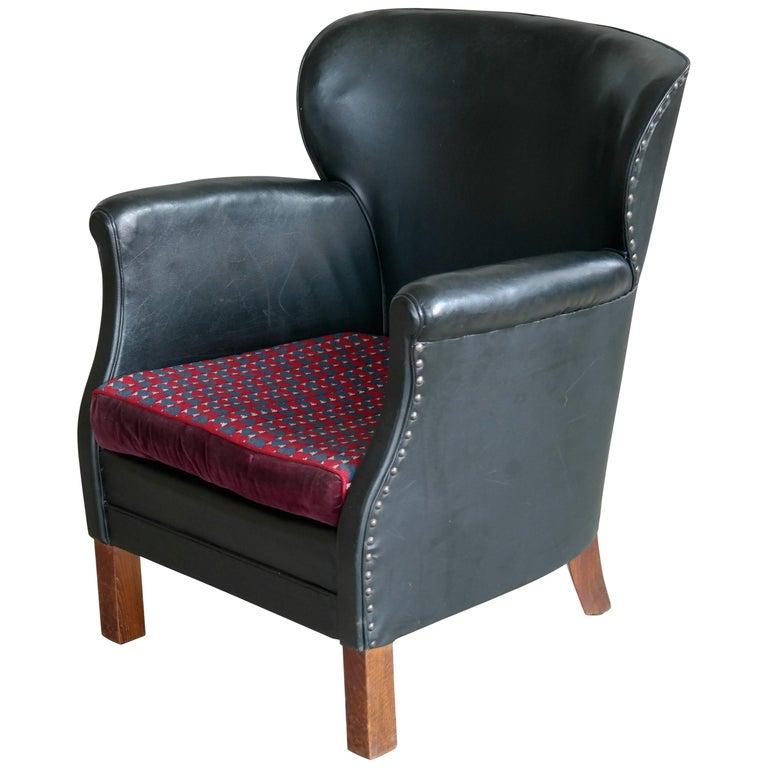 Awesome Danish 1930S Small Scale Club Chair In Patinated Black Frankydiablos Diy Chair Ideas Frankydiabloscom