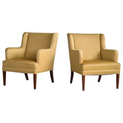 Frits Henningsen Pair of Lounge Chairs Denmark, circa 1950