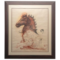 Pencil and Watercolor Painting on Paper of a Horse