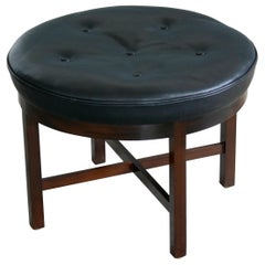 Midcentury Danish Ottoman in Leather and Mahogany by Georg Kofoed