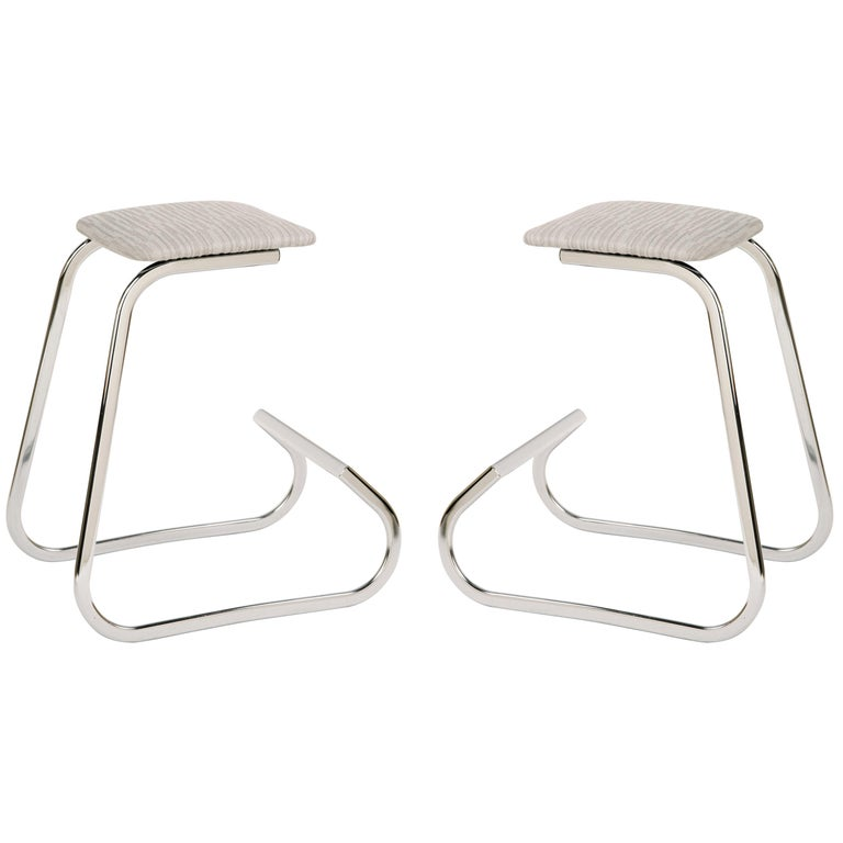 Sculptural Mid-Century Modern Counter Stools in Embossed Wool by Charles Stendig For Sale
