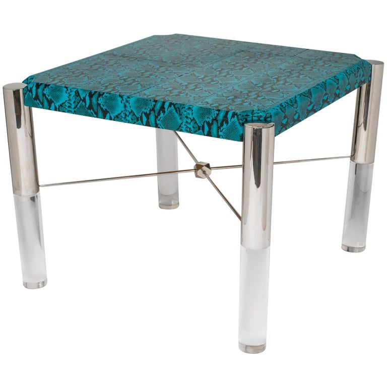 1970s Mid-Century Modern Turquoise Snakeskin Game Table For Sale
