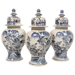 Three Blue and White Pottery Delft Style Mantle Jars