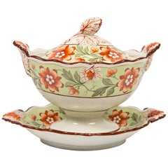 Antique Tureen Painted in Soft Green with Orange Blossoms & Berries England 1830