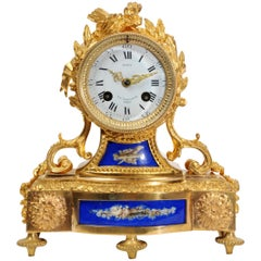 Japy Freres Ormolu and Porcelain Antique French Boudoir Clock