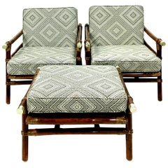 Rattan Raffia & Brass Pair of Lounge Chairs and Ottoman by, Ficks Reed Set of 3