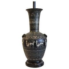 Tall Painted Terra Cotta Grecian Urn Lamp