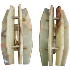 Pair of Italian Midcentury Alabaster and Brass Sconces, Late 1960s