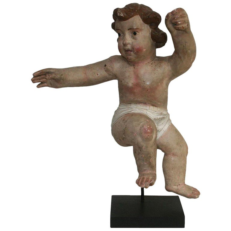 18th Century Italian Primitive Baroque Angel For Sale