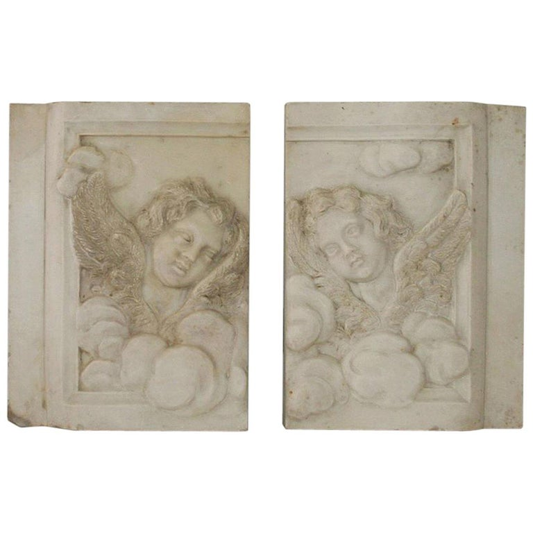 Couple of Italian 18th Century Baroque Marble Angel Panels For Sale