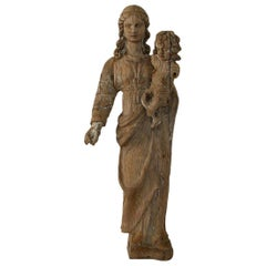 French 18th Century Classical Wooden Madonna with Child