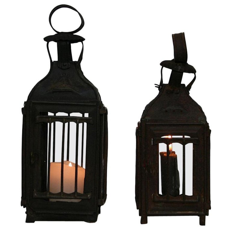 Pair of French, 19th Century Metal Lanterns For Sale