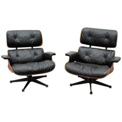 Charles Eames 20th Century Rosewood Lounge Chair, Set of 2