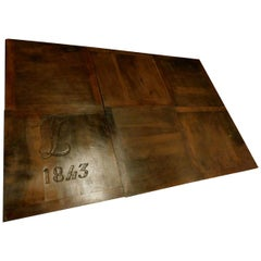 Antique Wood Walnut Floor Dated 1843, Perfect and Original Patina