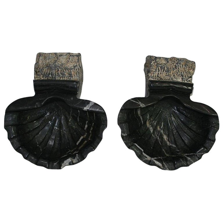 Pair of 18th Century Italian Baroque Black Marble Holy Water Fonts or Stoups For Sale