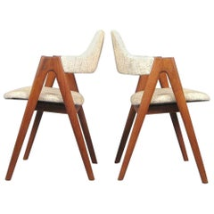 1960s Set of Two Kai Kristiansen Teak Compass Chairs, Choice of Upholstery