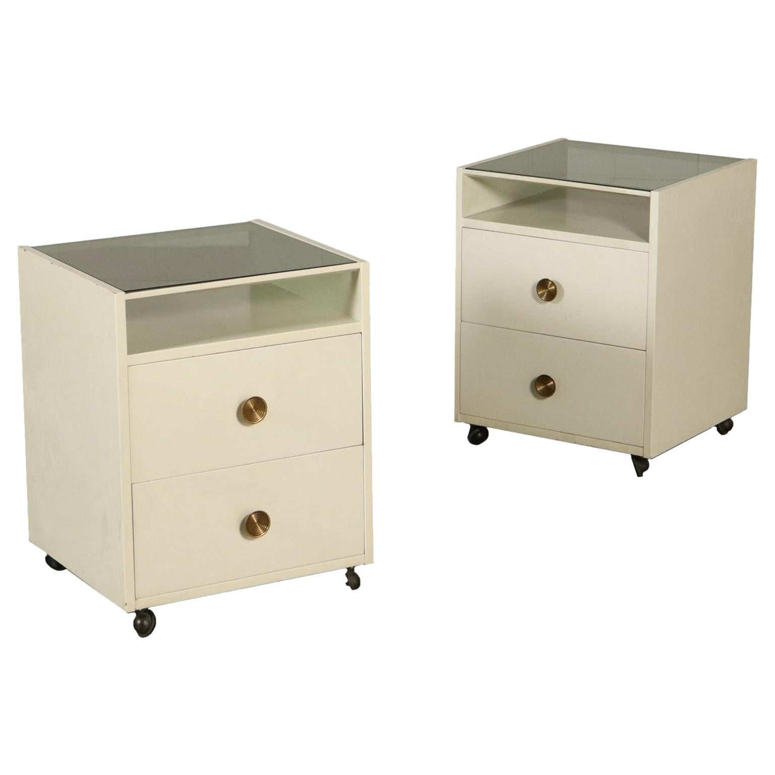 Pair of Nightstands with Wheels by De Carli for Sormani Wood Glass, 1960s