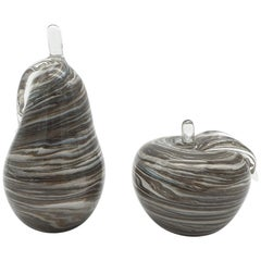 Modern Murano Glass Decorative Apple and Pear, Marbled Gray Color, Early 2000s