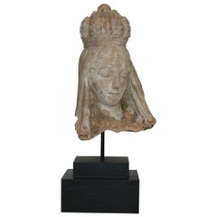 French 19th Century Terracotta Head of a Madonna