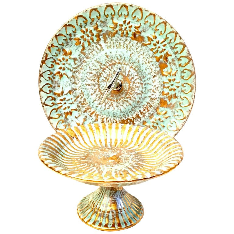 20th Century Ceramic and 22-Karat Gold Serving Pieces by Stangl, Set of 2 For Sale