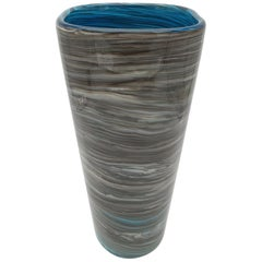 Modern Stylish Marbled Gray Murano Glass Vase by Cenedese, late 1990s