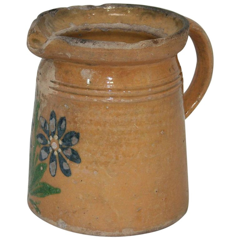 19th Century French Glazed Earthenware Alsace Jug For Sale
