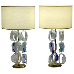 Mazzega Murano Midcentury Pair of Italian Glass and Brass Table Lamps, 1960