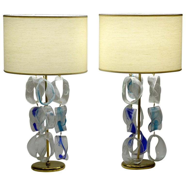 Mazzega Murano Midcentury Pair of Italian Glass and Brass Table Lamps, 1960 For Sale