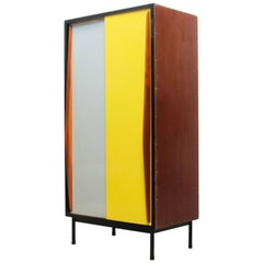 Rare Cabinet by Willy Van Der Meeren for Tubax 1950s Grey, Yellow Black Teak