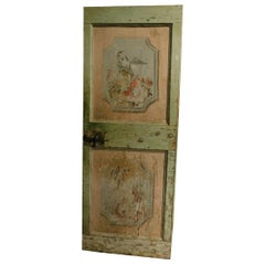 19th Century Ancient Green and Pink Lacquered Wood Door, with Animals and Flower