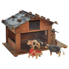 Swiss Folk Art from 1950s, Hand carved Alpine Stable with Animals