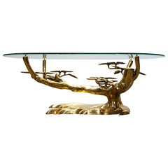 Rare ''Bonsai'' Coffee Table in Brass by Willy Daro 1970s Belgium, Glass, Gold