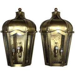 Pair of Handcrafted Wall Mounted Brass Lantern