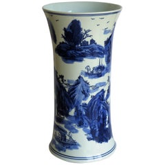 Chinese Blue and White Porcelain Beaker Vase with Six Character Mark, Ca 1950