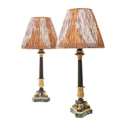 Pair of Impressive Louis Philippe Ormolu and Bronze Column Lamps, circa 1860