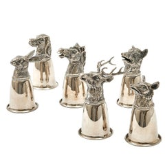 Six Silver Gucci Figural Hunting Cups, Italy, circa 1970