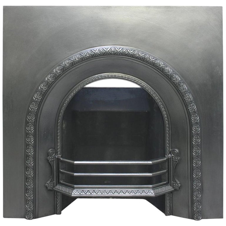 Reclaimed Victorian Cast Iron Arched Fireplace Insert For Sale