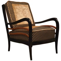 Guglielmo Ulrich Attributed Midcentury Beech and Velvet Italian Armchair, 1950