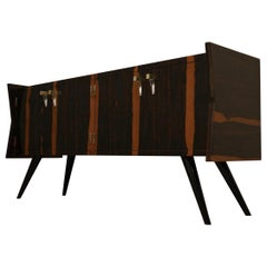 Midcentury Macassar Glass and Brass Italian Sideboard, 1950